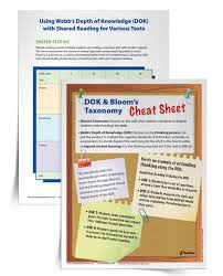 using webb u0027s dok and bloom u0027s taxonomy within shared reading