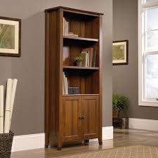 Bookcase With Doors Furniture Glossy Wood Sauder Bookcase Design With White Glass
