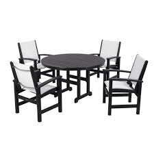 polywood coastal black 5 piece patio dining set with white slings