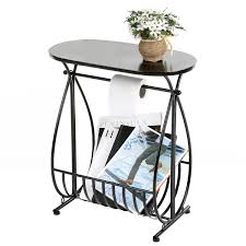 metal bathroom storage table with toilet paper roll holder and