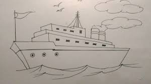 how to draw a ship step by step tutorial for kids youtube