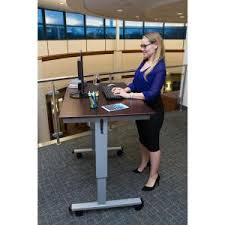 Stand Up Desk Exercises Luxor Silver And Walnut Desk With Wheels Standup Cf60 Dw The