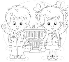 Coloring Page Of A School Back To School Coloring Pages Sarah Titus by Coloring Page Of A School
