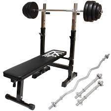 bench curl bar bench young bodybuilder training in the gym