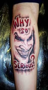 red and grey ink why so serious joker tattoo on men leg u2013 truetattoos