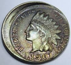 error errorcoins 1901 au bu 15 off center u s indian head penny