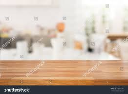 Wooden Kitchen Table Background Empty Wooden Table White Modern Kitchen Stock Photo 519515791
