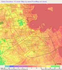 doha qatar map elevation of doha qatar elevation map topography contour