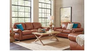 Light Brown Living Room 1 988 00 Balencia Light Brown Leather 5 Pc Living Room