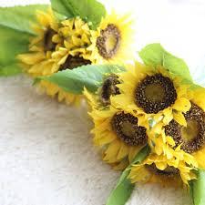 free shipping 1 bouquet 35cm lifelike artificial sunflower