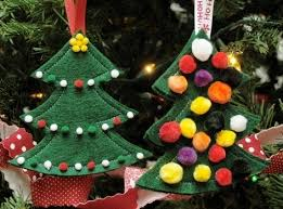 felt trees with pompom ornaments 12 days of handmade
