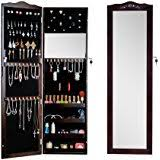 Wall Mirror Jewelry Storage Amazon Com Black Mirrored Jewelry Cabinet Armoire Wall Door