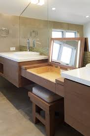 Bathroom Electrical Outlet Makeup Vanities In Bathroom Contemporary With Mirror Wtih