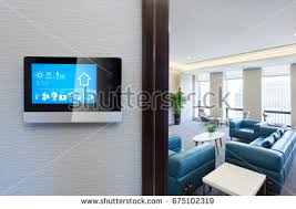 smart home interior design smart screen smart home apps on stock photo 675102319