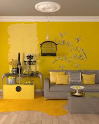 impressive yellow living room interior with study room design
