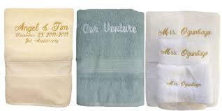 embroidered and personalized bath towel sets