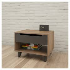 alibi 1 drawer nightstand walnut and charcoal nexera target