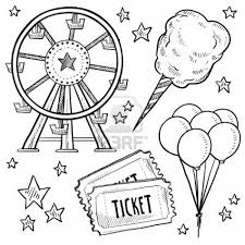 doodle style amusement park or carnival equipment sketch in vector