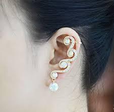 diamond ear cuff diamond waves rhinestone ear cuff single 1 piercing lilyfair