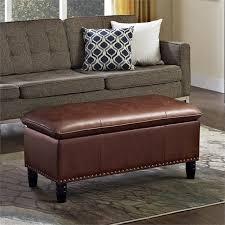 Pillow Top Bench Faux Leather Pillow Top Storage Bench In Cognac 3axcot 247 Cg