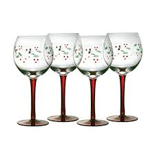 christmas glasses pfaltzgraff winterberry 13 ounce glass goblets set