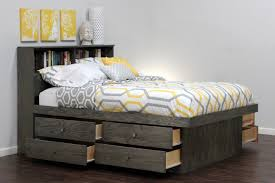 bookcase headboard ideas cool gray wood queen captain bed with storage drawers 8 and