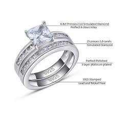 simulated engagement ring sterling silver princess cut simulated ring set rojaai