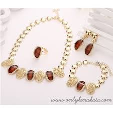 gold plated beads necklace images African beads party gold plated necklace earrings only kenakata jpg