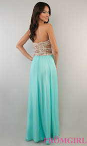 strapless prom gown with cut out side beaded prom dress promgirl