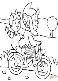 big ears rides bicycle noddy coloring free printable