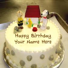 write your name on lovely happy birthday cake