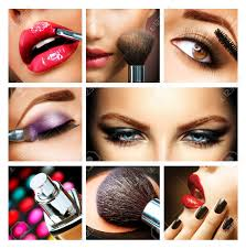 Professional Make Up Makeup Collage Professional Make Up Details Makeover Stock Photo