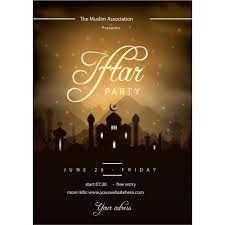 Eid Invitation Card Iftar Party Poster Greeting Card Vector Eid Mubarak Pinterest