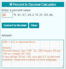percent to decimal percent to decimal calculator