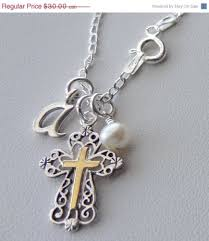 communion necklace sterling silver holy spirit cross necklace initial letter necklace