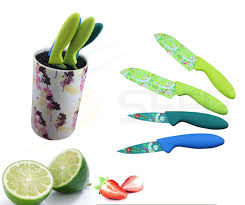 china 4pcs colorful plastic handle kitchen knife set se 3557