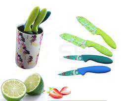 plastic kitchen knives china 4pcs colorful plastic handle kitchen knife set se 3557
