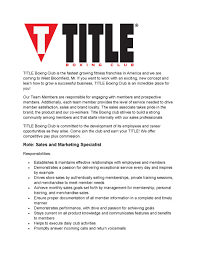 Seeking Title Title Boxing Club Is Seeking Sales And Marketing Specialist
