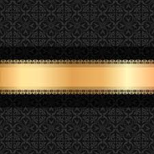 black and gold ribbon black luxury decoration with gold ribbon background vector 04