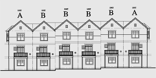 row home plans row house plans town home plans six units tandem garage