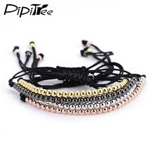 charm bead bangle bracelet images Trendy handmade brand men bracelet macrame jewelry 4mm copper jpeg