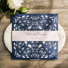 navy and blush wedding invitations classic navy blue blush pink laser cut wedding invitation ewws072