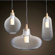 Wood Pendant Light Fixture Modern Glass Pendant Light Natural Curved Transparent Pendant Lamp