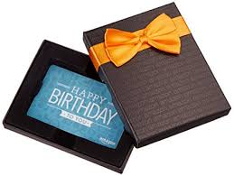 gift card in a black gift box birthday