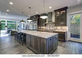 oversized kitchen islands modern open plan gray kitchen features stock photo 557517382