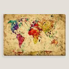 Large World Map Poster Wall Art Design Ideas Wooden Canvas Vintage World Map Wall Art