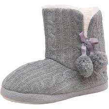 womens fur boots uk womens firetrap cable knit winter cosy slippers faux fur