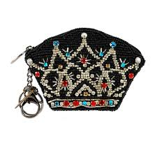 queen beaded crown coin purse key fob designer embellished handbags