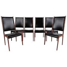danish teak wood high back upholstered dining chairs for sale at