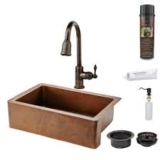 sinkology pfister all in one copper kitchen sink 33 in 4 hole